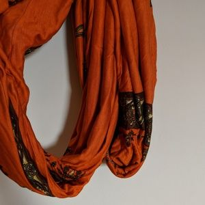 Accessories - Orange + Brown Infinity Scarf